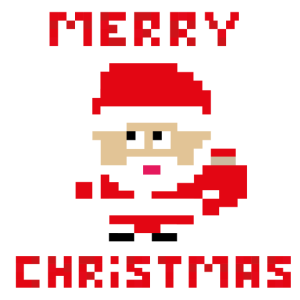 Santa 'Frohe Weihnachten' 8-Bit