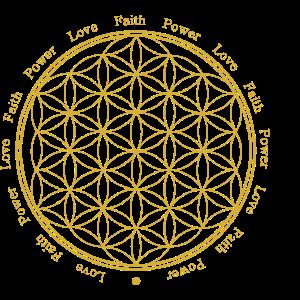 Blume des Lebens - Faith-Love-Power - Gold