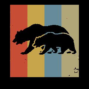Mama Bär und Bärenjunges - Retro-Stil Geschenk