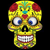 Schielender bunter Totenkopf Skull Geschenk