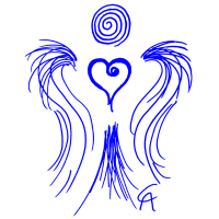 Grafischer Herzengel blau