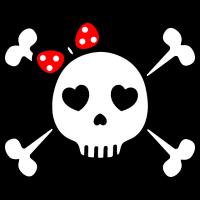 niedlicher Totenkopf süßer Rockabilly Skull