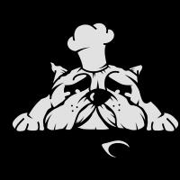Ein Mops mit Kochmütze und Kochlöffel