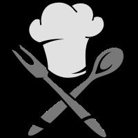 Eine Kochmütze mit Kochlöffel und Bratengabel