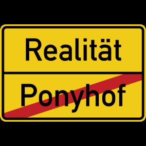Ortsschild Ponyhof Realität Verkehrsschild