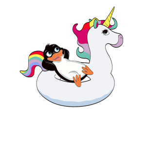 Pinguin auf Einhorn Luftmatraze kawaii Sommer cool