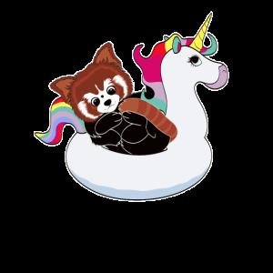 Roter Panda auf Einhorn Luftmatraze kawaii Sommer