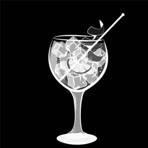 Gin Tonic im großen Rund-Glas mit Zitrone