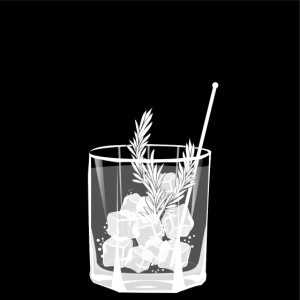 Kleines Glas Gin and Tonic - Design - Sommer-Drink