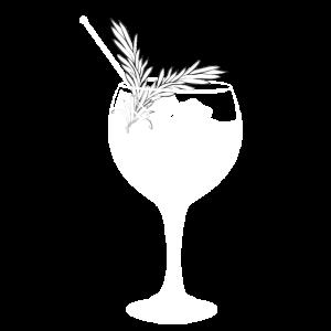Gin Tonic und Rosmarin als Garnitur - transparent