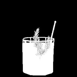 Kleines Gin Tonic Glas mit Rosmarin - transparent