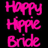 happy hippie bride