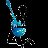 Musiker Blau Schwarz Gitarre