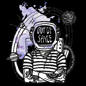 Out of Space mit lila Farbklecks