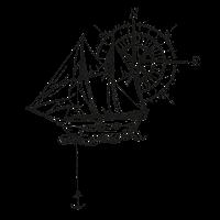 Schiff mit Kompass und Anker