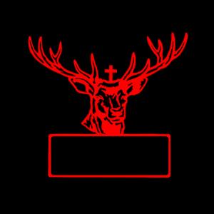 Hirschkopf Hirschgeweih mit Schild für Text rot