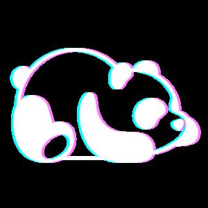 Fauler Panda süß 3D Anaglyph Retro Vintage