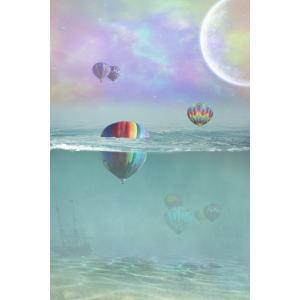 dreaming, Ballon, fliegen, underwater