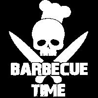 barbecue time Grillzeit Skull mit Kochmütze Smoker