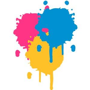 Drei bunte Farbflecken im Graffiti Stil