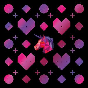 Herz Unicorn Muster Origami