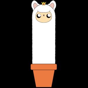 Alpaka im Blumentopf