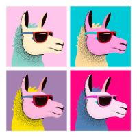Pop-Art Llama With Sunglasses
