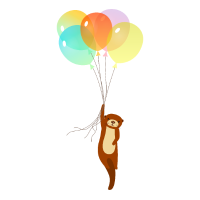 Otter Flying With Balloons