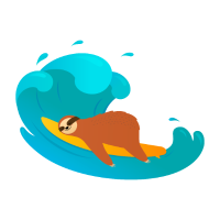 Sloth Surfing Wave