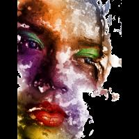 Farbiges Frauen Gesicht