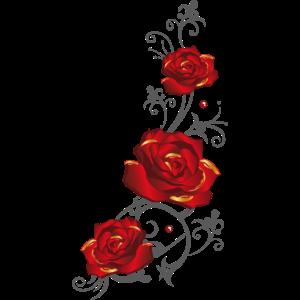 Ranke mit roten Rosen und Blättern