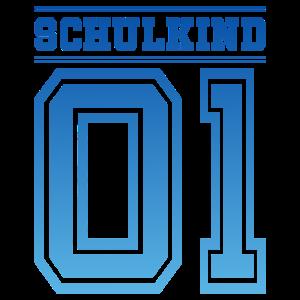 Schulkind 01 Schule Kind Einschulung Nummer blau