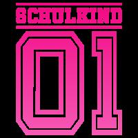 Schulkind 01 Schule Kind Einschulung Nummer pink