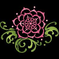 Lotusblüte pink mit Blättern. Lotus.