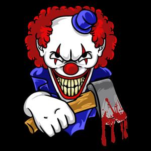 Böser Clown mit blutiger Axt Horror T-Shirt| NaKos