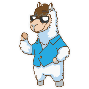 Robustes Alpaka mit Sonnenbrille