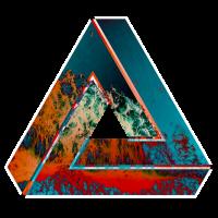 Penrose Dreieck optische Illusion farbig gemustert