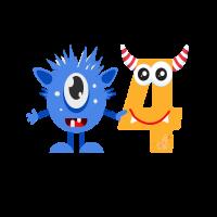 Lustiges niedliches 4. Geburtstags-Monstergeschenk für Kinder