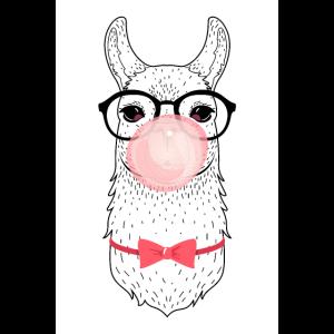 Alpaka Mit Brille, Fliege und Kaugummiblase