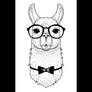 Hipster Alpaka Mit Brille Und Fliege
