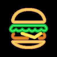 Neon Burger - 80s Retro Neonreklame