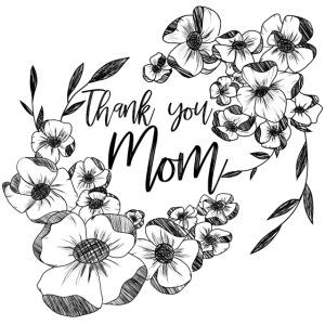Grazie mamma, con doodle di fiori d'inchiostro