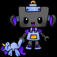 Roboter Mädchen mit Einhorn Plüschtier