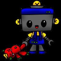 Roboter Junge mit Monster Plüschtier