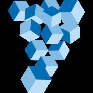 Blaue Würfel - Geometrische Formen