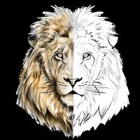 Ein Löwe gezeichnet in Gold und Weiß