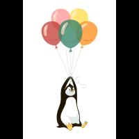 Pinguin Mit Luftballons