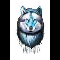 Wolf - Wasserfarben Zeichnung