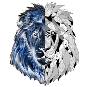 Ein Löwe mit interessantem Muster