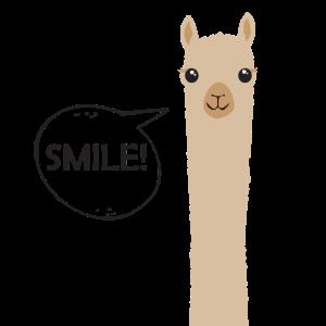 Alpaka Lama Geschenk Lächeln Hallo